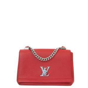 Louis Vuitton Red Leather Lock Me Shoulder Bag