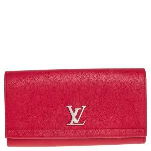 Louis Vuitton Red Taurillon Leather Lock Me ll Wallet