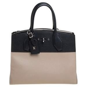 Louis Vuitton Beige/Black Leather City Steamer MM Bag