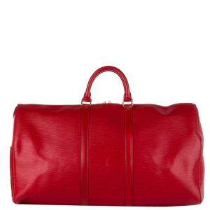 Louis Vuitton Red Epi Leather Keepall 55 Bag