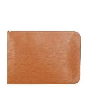 Louis Vuitton Brown Epi Leather Pochette Jour GM Clutch