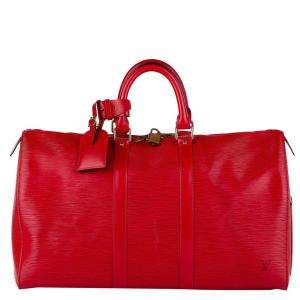 Louis Vuitton Red Epi Leather Keepall 45 Bag