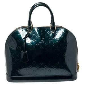Louis Vuitton Dark Green Monogram Vernis Alma GM Bag