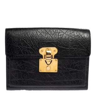 Louis Vuitton Black Crinkled Leather Indra Portfolio Clutch