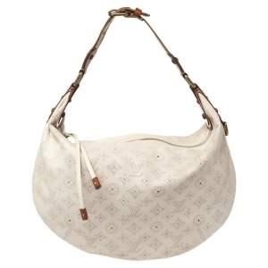 Louis Vuitton White Monogram Mahina Leather Limited Edition Onatah GM Bag