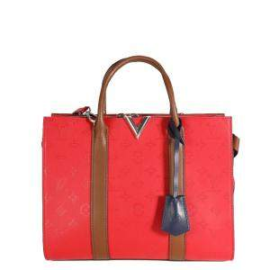 Louis Vuitton Red Leather Monogram Very Tote MM Bag