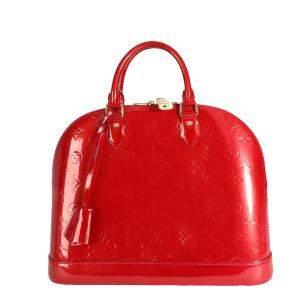 Louis Vuitton Red Monogram Vernis Alma MM Bag