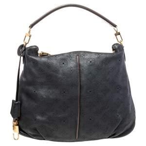 Louis Vuitton Black Monogram Mahina Leather Selene MM Bag