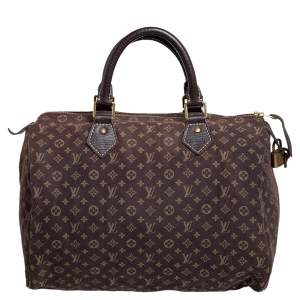 Louis Vuitton Fusain Monogram Mini Lin Canvas Speedy 30 Bag