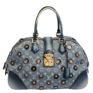 Louis Vuitton Blue Denim Polka Dots Limited Edition Panema Bowly Bag