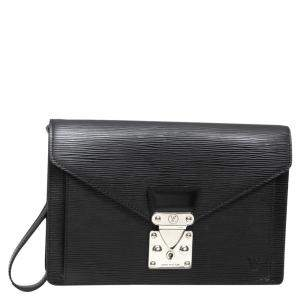 Louis Vuitton Black Epi Leather Sellier Dragonne Clutch