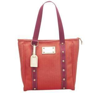 Louis Vuitton Red Antigua Cabas MM Shoulder Bag