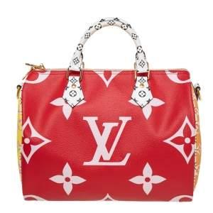 Louis Vuitton Rouge Giant Colored Monogram Canvas Speedy Bandouliere 30 Bag