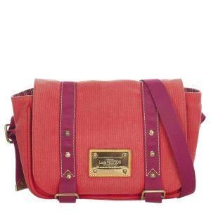 Louis Vuitton Red Canvas Fabric Antigua Besace PM Shoulder Bag