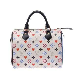 Louis Vuitton White Monogram Canvas Game On Speedy Bandouliere 25 Bag