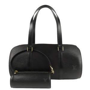 Louis Vuitton Black Epi Leather Soufflot Satchel