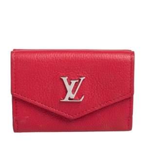 Louis Vuitton Red Leather Lockmini Wallet