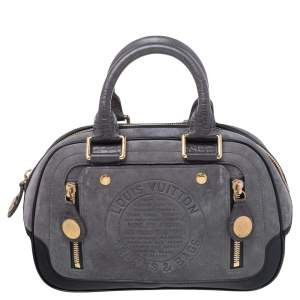 Louis Vuitton Grey/Black Suede and Leather Limited Edition Havane Stamped Trunk GM Bag