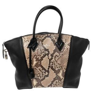 Louis Vuitton Black/Beige Taurillon Leather and Python Soft Lockit PM Bag