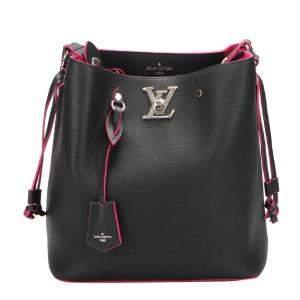 Louis Vuitton Black Leather Lockme Bucket Bag
