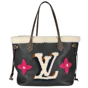 Louis Vuitton Black 2020 Shearling Monogram Teddy Neverfull MM Bag
