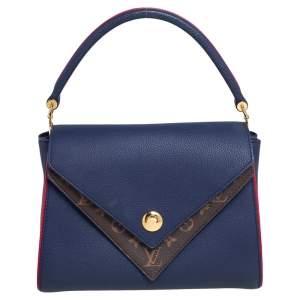 Louis Vuitton Blue Marine Leather and Monogram Canvas Double V Bag