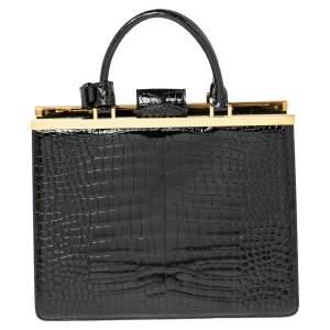 Louis Vuitton Black Shine Crocodile Deesse MM Bag