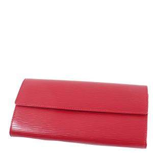 Louis Vuitton Red Leather Portefeuille Sarah Wallet