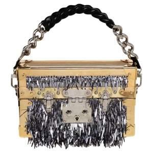 Louis Vuitton Gold Epi Leather Metallic Fur Embellished Petite Malle Bag