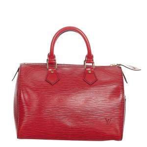Louis Vuitton Red Epi Leather Speedy 25 Satchel Bag