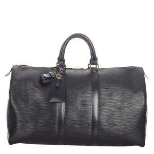 Louis Vuitton Black Epi Leather Keepall 45 Bag