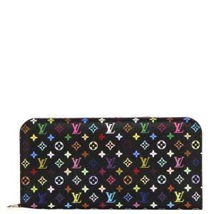 Louis Vuitton Black Monogram Multicolor Canvas  Zippy Wallet