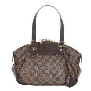 Louis Vuitton Brown Canvas Leather Verona PM Shoulder Bag