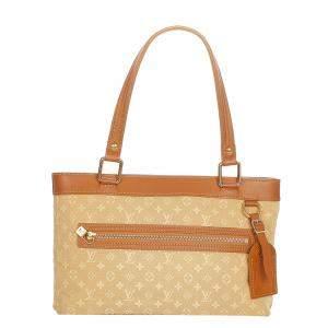 Louis Vuitton Brown/Beige Fabric Cotton Mini Lin Lucille PM Shoulder Bag