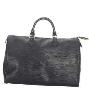 Louis Vuitton Black Leather Speedy 35 Satchel Bag
