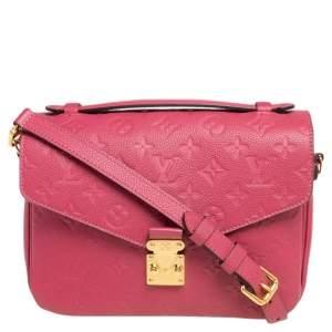 Louis Vuitton Rose Freesia Monogram Empreinte Leather Pochette Metis Bag