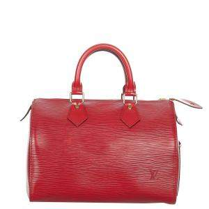 Louis Vuitton Red Epi Leather Speedy 30 Top Handle Bag
