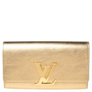Louis Vuitton Gold Leather Louise Clutch