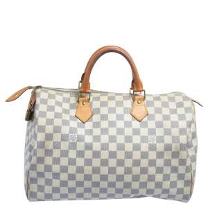 Louis Vuitton Damier Azur Coated Canvas And Leather Speedy 35 Bag