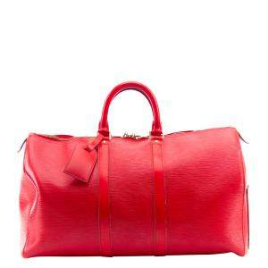 Louis Vuitton Red Epi Leather Keepall Bag