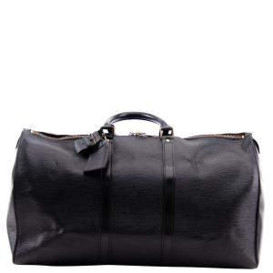 Louis Vuitton Black Epi Leather Keepall Bag