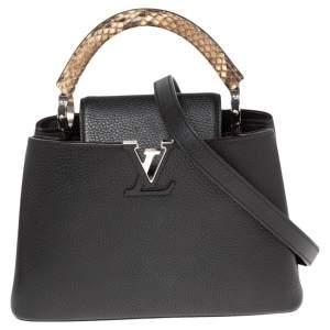 Louis Vuitton Black Leather and Python Capucines BB Bag