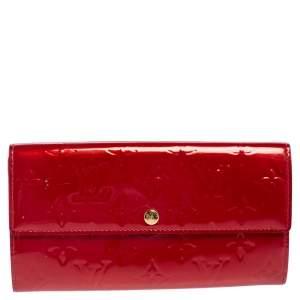 Louis Vuitton Pomme D'amour Monogram Vernis Leather Sarah Wallet