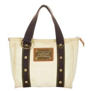 Louis Vuitton White Canvas Fabric Antigua Cabas PM Tote Bag