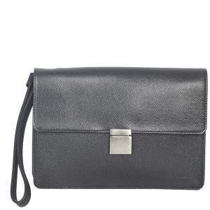 Louis Vuitton Black Taiga Leather Selenga Clutch