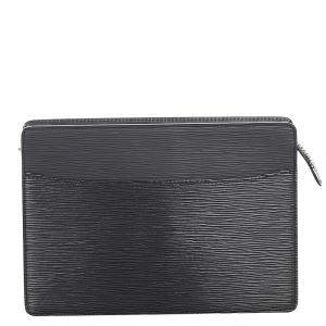 Louis Vuitton Black Epi Leather Pochette Homme Clutch Bag
