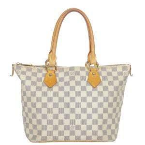 Louis Vuitton White Damier Canvas Azur Saleya PM Tote Bag