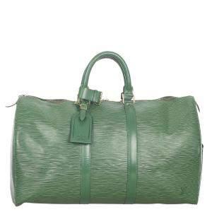 Louis Vuitton Green Epi Leather Keepall 45 Bag