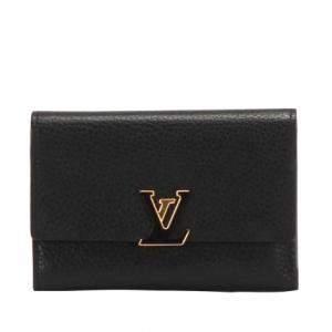 Louis Vuitton Black Calf Leather Capucines Wallet