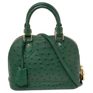 Louis Vuitton Green Ostrich Alma BB Bag